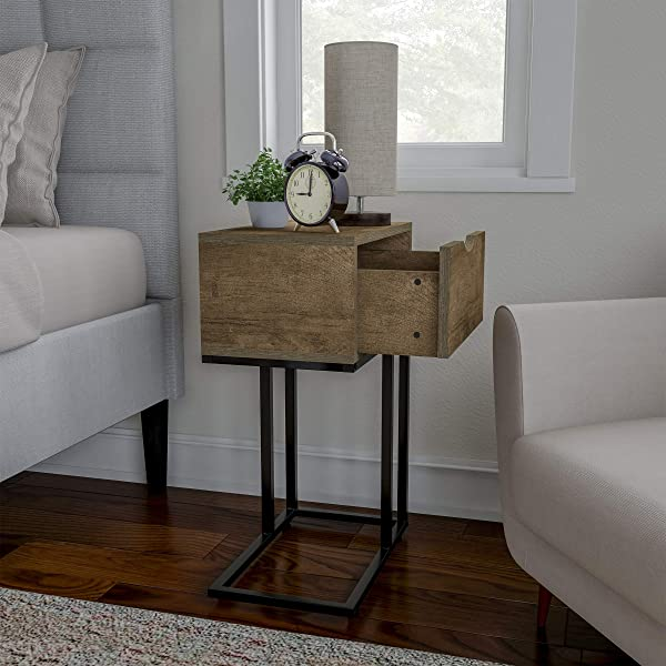 Sofa Side Table C Shaped End Table With Storage Drawer Modern Farmhouse Or Rustic Style Laptop Tray Slide Under Couch Or Bed By Lavish Home Gray