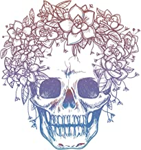 Divine Designs Pink Blue Ombre Skull with Flower Crown Drawing Vinyl Decal Sticker (4