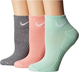 Nike - Cotton Cushioned Quarter with Moisture Management 3-Pair Pack