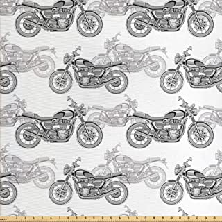 Ambesonne Motorcycle Fabric by The Yard, Realistic Grayscale Illustration of Classic Motorcycles with Many Details, Decorative Fabric for Upholstery and Home Accents, 1 Yard, Off White Black