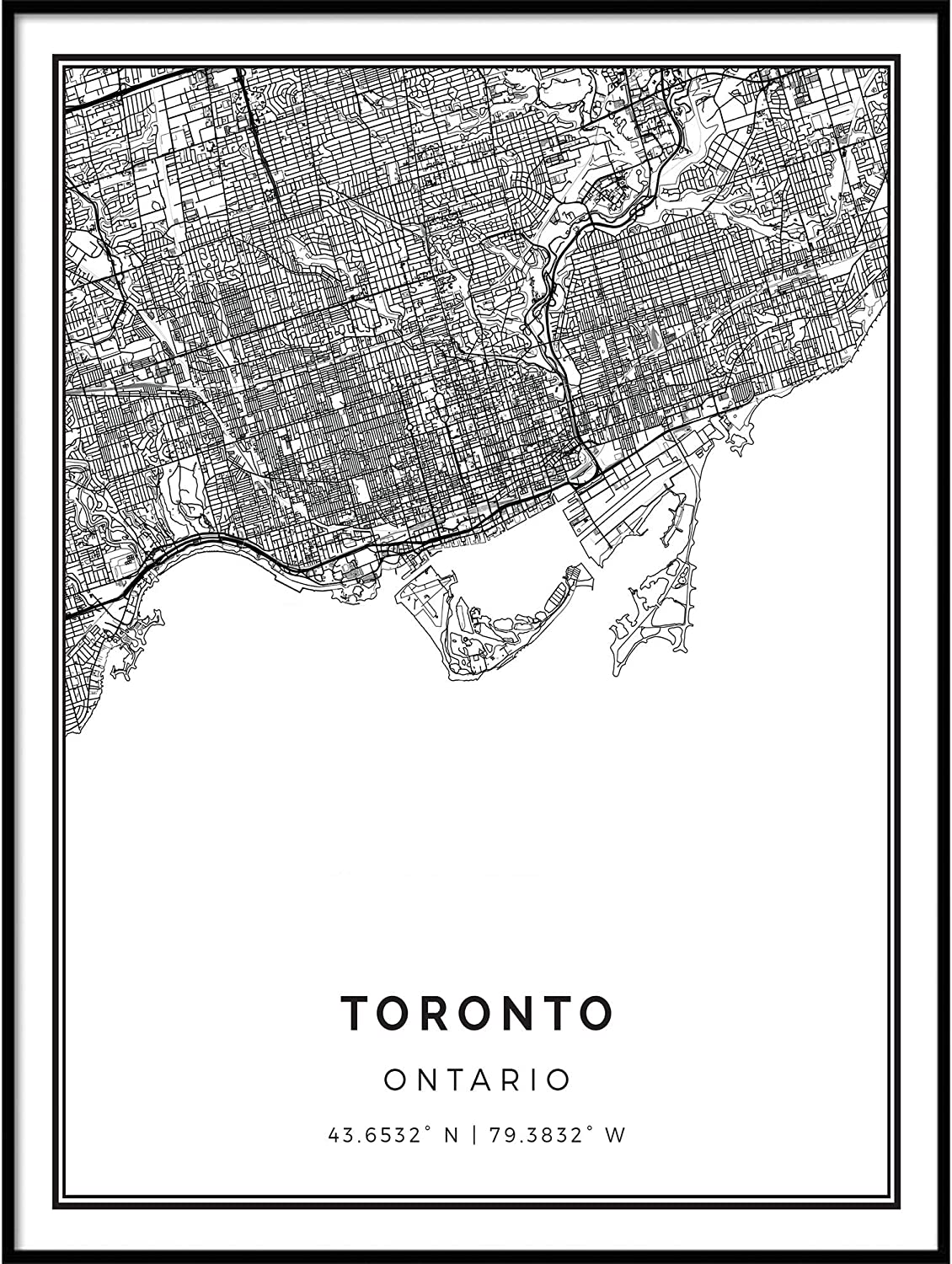Squareious Toronto Quantity limited map Poster Tulsa Mall Print Modern White and Wal Black
