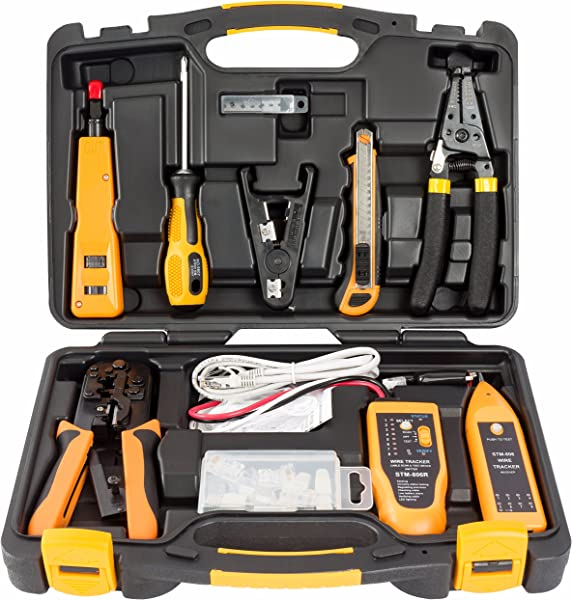 InstallerParts 15 Piece Network Installation Tool Kit Includes LAN Data Tester RJ11 45 Crimper 66 110 Punch Down 20 30 Gauge Wire Stripper Utility Knife 2 In 1 Screwdriver And Hard Case