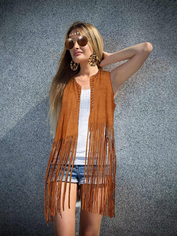 70s Costumes: Disco Costumes, Hippie Outfits 4 Piece Women Hippie Costume Set Fringe Vest Faux Seude Tassels Vest  AT vintagedancer.com