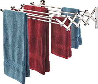 Smartsome Fold Away Clothes Rack: Stainless Steel Wall Mounted Laundry Drying Rack - 8 Rods, 22 Feet Capacity- Easy to Install Space Saver Design - 60 lb Capacity- Indoor and Outdoor Use