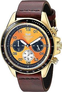 Vestal 'ZR2' acero inoxidable y piel Casual reloj de cuarzo, color: café (modelo: zr243l22.cvbk)