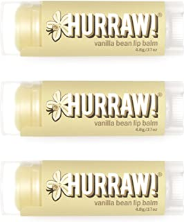Hurraw! Vanilla Bean Lip Balm, 3 Pack: Organic, Certified Vegan, Cruelty and Gluten Free. Non-GMO, 100% Natural Ingredient...