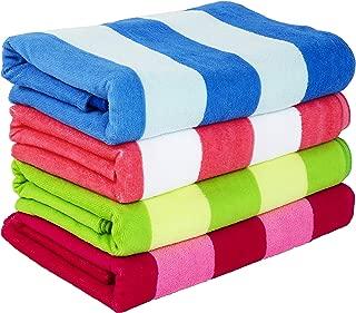 Exclusivo Mezcla 4-Pack Microfiber Cabana Striped Large Beach/Pool/Bath Towel for Adults (30