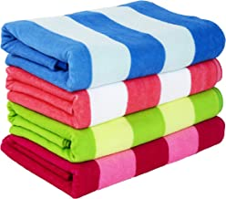 Exclusivo Mezcla 4-Pack Microfiber Cabana Striped Large Beach/Pool/Bath Towel for Adults (30