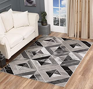 Golden Rugs Area Rug Abstract Diamond Modern Modern Distressed Carpet Bedroom Living Room Contemporary Dining Accent Sevilla Collection 5504A (5x7, Grey & Black)