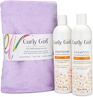 Curly Girl Shampoo, Conditioner & Anti Frizz Microfiber Towel Set