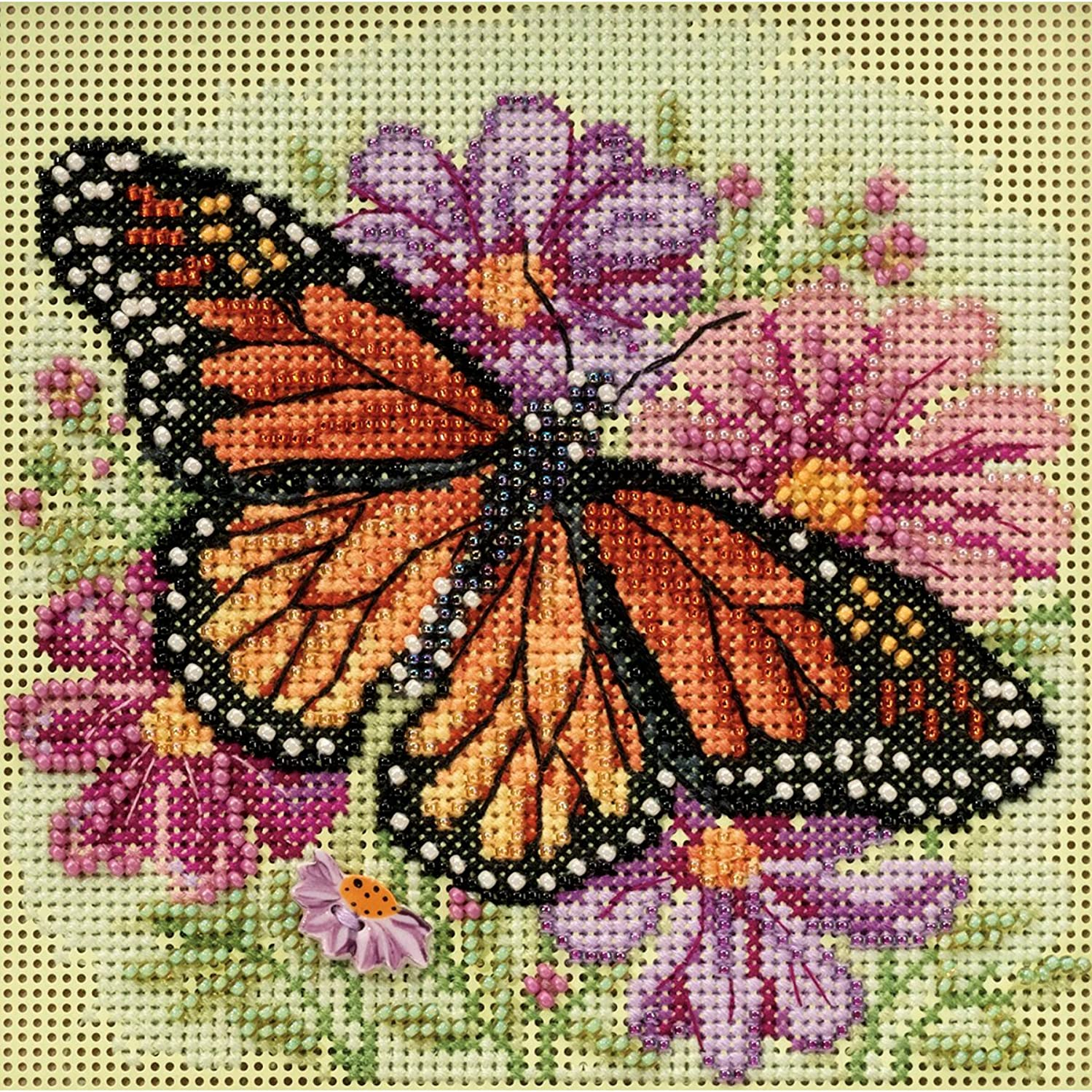 Winged Monarch Butterfly Beaded Counted Cross Stitch Kit Mill Hill 2015 Buttons & Beads Spring MH145105