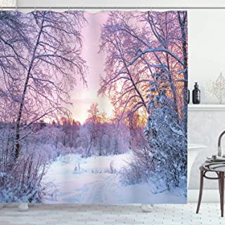 Ambesonne Landscape Shower Curtain, Winter Season Themed Dried Abandoned Braches Snowy Sunset Scenery Image, Cloth Fabric Bathroom Decor Set with Hooks, 70