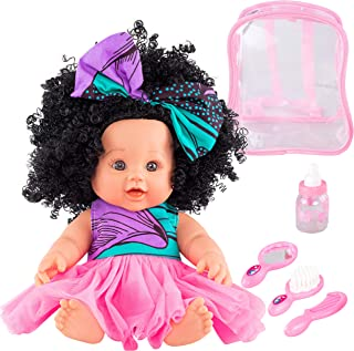 """Ava Lynne's Toys Black Baby Doll Set – African American Baby Doll with Lifelike Hair and Features, Includes Changeable Clothing and Backpack with Brush and Comb (12"""" Tall) (Golden)"""
