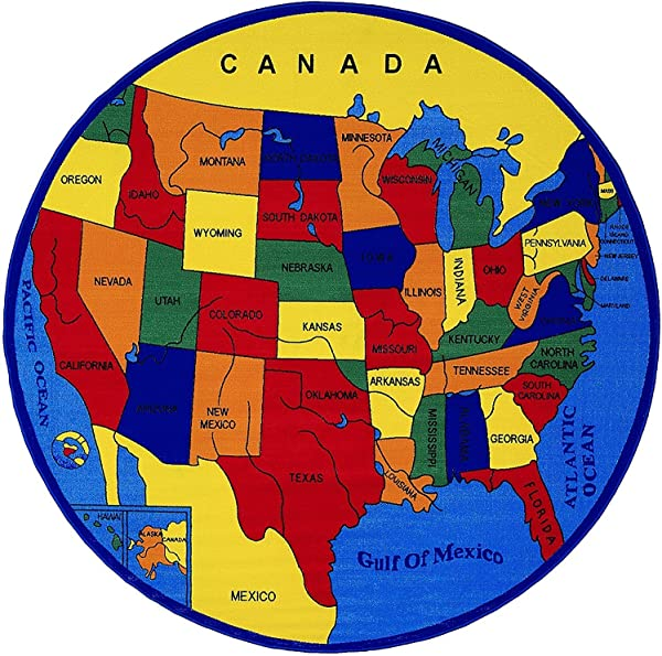 Champion Rugs Kids Baby Room Area Rug USA Map Fifty States North America Non Slip Gel Back Bright Colorful Vibrant Colors 8 Feet X 8 Feet Round