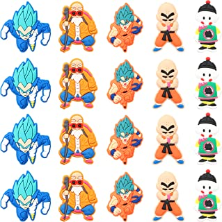 20PCS Dragon Ball Shoe Charm for Kids, Goku Cartoon Shoe Decoration Charm for Crocs, Bracelet Wristband Charms for Toddlers Gift, Cool Clog Decor for Teens Boys Slip-On, Treasure Toy for Party