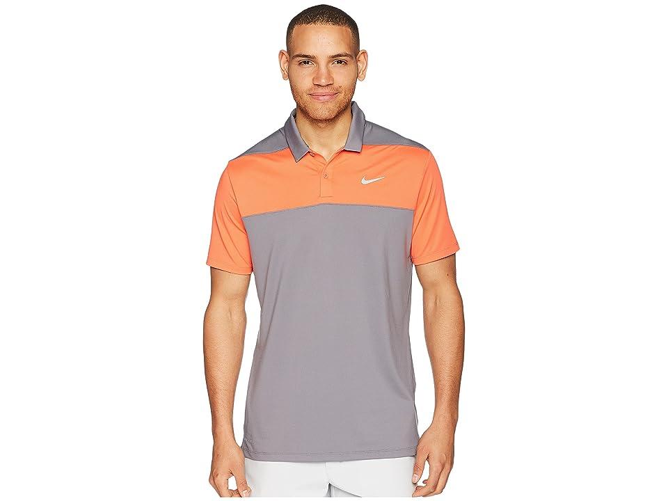 Nike Golf Color Block Dry Polo (Gunsmoke/Rush Coral/Flat Silver) Men