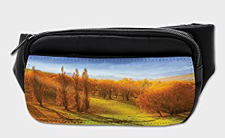 Lunarable Autumn Bumbag, Sunrise Forest New Zealand, Fanny Pack Hip Waist Bag