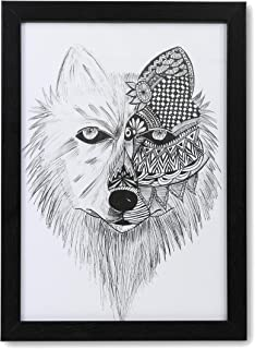 Mandala Art - Handmade Painting Photo Frame of Wolf | Modern Art Wooden Frame Pen Sketch Drawing | Portrait Painting for W...