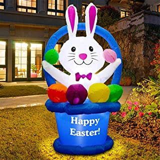 le Star 4 FT Inflatable Easter Decoration, Lighted Easter Bunny with Basket and Colorful Eggs, Blow Up Cute Rabbit Indoor ...