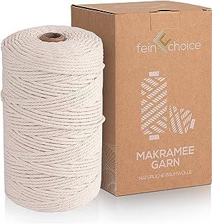 fein choice®️ Premium Macrame Koord 3mm x 200m, 100% Natuurlijke Katoenen Garen voor DIY, Macrame Touw voor Boho Decorati...
