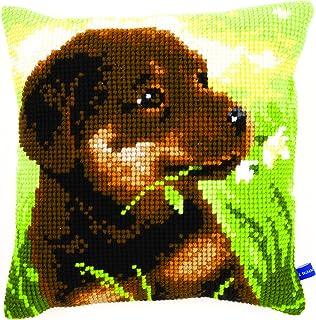 Vervaco Stickpackung für Kreuzstichkissen vorgedruckt, Baumwolle, weiß, 40 x 40 x 0,3 cm
