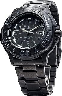 Men's SWW-900-BLK Diver Swiss Tritium Black Dial Metal and Rubber Band Watch