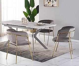 Ensemble Salle à Manger Design - Table à Manger Aspect Marbre Blanche + 4 Chaises Grises - Style Contemporain - Table Exte...