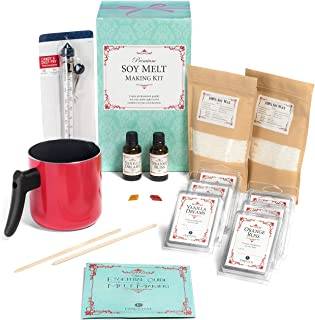 Premium Soy Melt Making Kit – DIY Set Creates 6 Delightfully Scented Melts by Essential Reserve with Orange Bliss & Vanilla Dreams (Red Pitcher)
