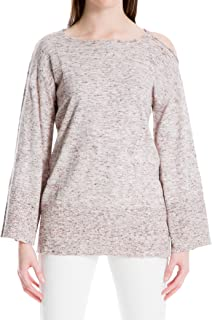 Womens Cold Shoulder Bell Sleeve Pullover Sweater