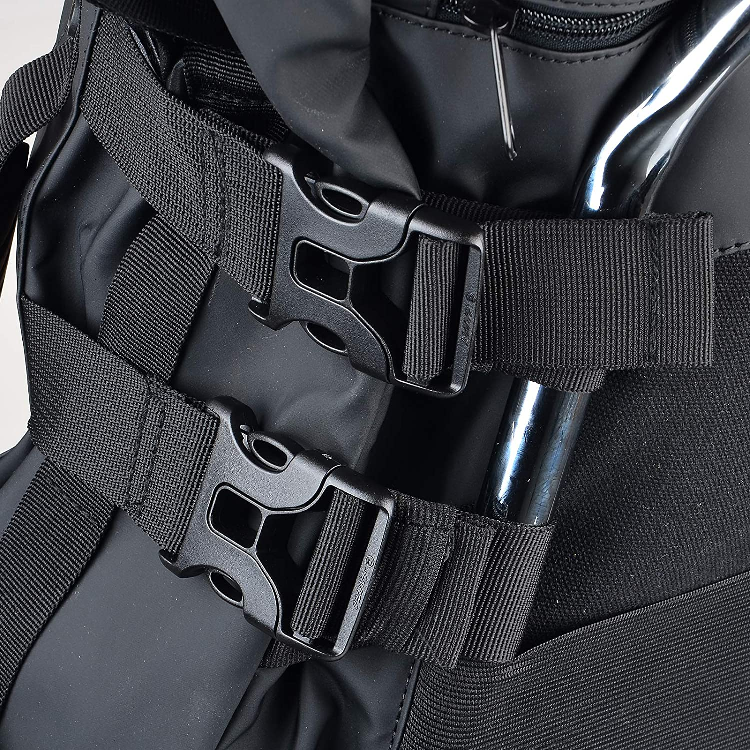 Sresk Expandable Motorcycle Travel Luggage Balck Weather Resistant Duffle Bag with Sissy Bar Straps