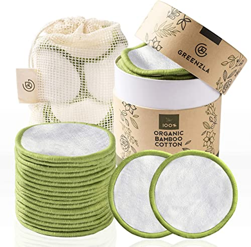 Greenzla Reusable Makeup Remover Pads (20 Pack) With Washable Laundry Bag And Round Box for Storage | 100% Organic Ba...