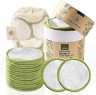 پد های پاک کننده آرایشی قابل استفاده مجدد Greenzla (بسته 18 عددی) با کیسه لباسشویی قابل شستشو و جعبه گرد برای نگهداری | تخته های پنبه ای قابل استفاده مجدد از صفر | دور 100٪ پنبه ارگانیک برای انواع پوست