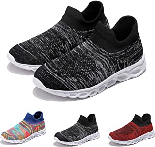 EVERNOVEL Kids Sneakers Boys Girls Lightweight Weave Running Walking Shoes Breathable Slip On Knit Casual Sports Shoes
