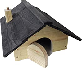 ECO-STAND Hedgehog House XXL 58 x 35 x 29 cm Winterfest with Floor and Labyrinth Entrance 18 mm Pine Wood from the Inside and Hand-Made Birch Elements from the Outside