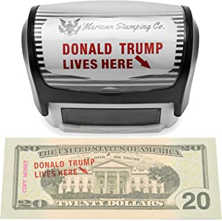 'Merican Stamping Co. Donald Trump Lives Here Stamp, Self Inking Rubber Stamp, Red Ink