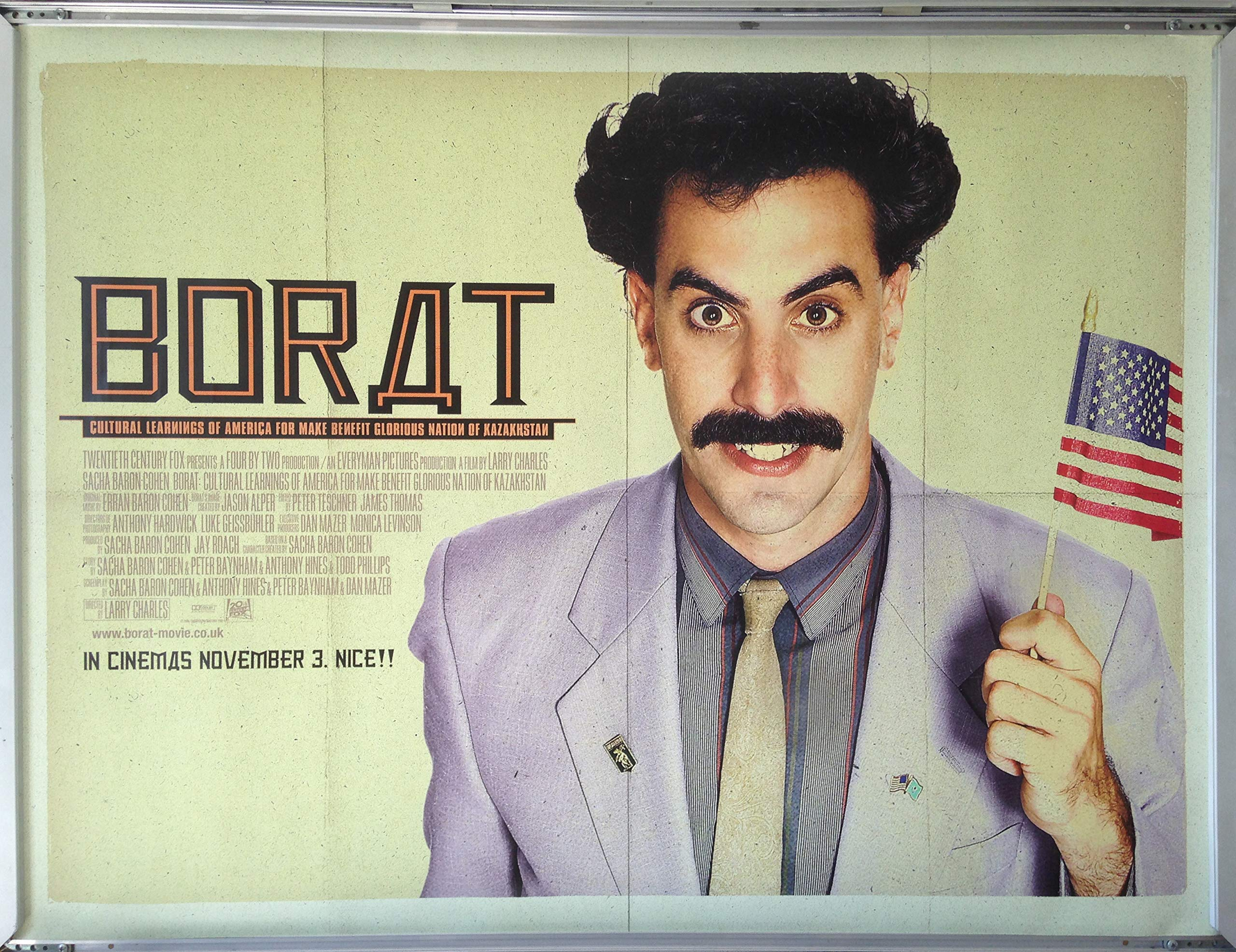 Favouritefilm Cinema Poster Borat 2006 Main Quad Sacha Baron Cohen Ken Davitian Amazon Co Uk Kitchen Home