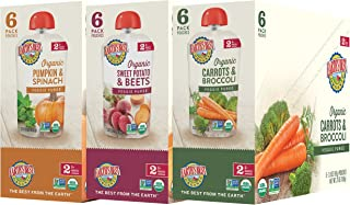 Earth's Best Organic Stage 2 Baby Food, Vegetable and Fruit Blends Variety Pack, 3.5 oz. Pouch (18 Count)