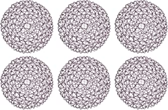 """DII Woven Paper Tabletop Collection Holiday or Event Décor, Reversible Round Placemat Set, 15"""" Dia, Eggplant 6 Piece"""