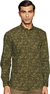 John Players Men's Printed Slim fit Casual Shirt