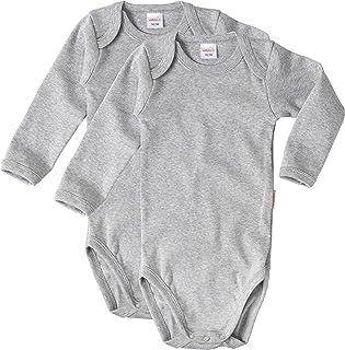wellyou Lot de 2 bodies à manches longues pour bébé et enfant 100 % coton Taille 92-134