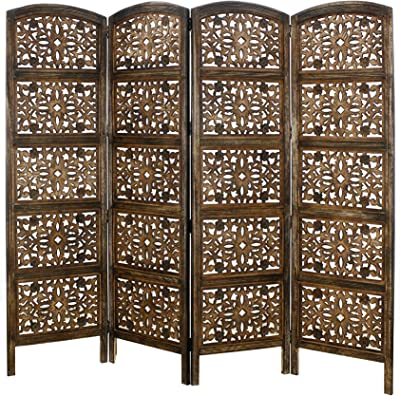Amazon Com Rajasthan Antique Brown 4 Panel Handcrafted Wood Room Divider Screen 72x80 Intricately Carved On Both Sides Reversible Hides Clutter Adds Décor Divides The Room Antique Brown Rajasthan Furniture