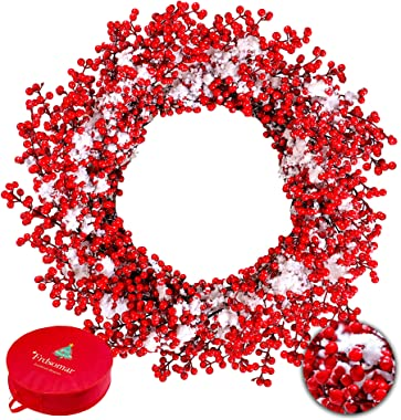 Frdsomar Large Red Berry Christmas Wreath with Storage Container for Front Door, 24inch Artificial Berry Wreath with Snow, Wi
