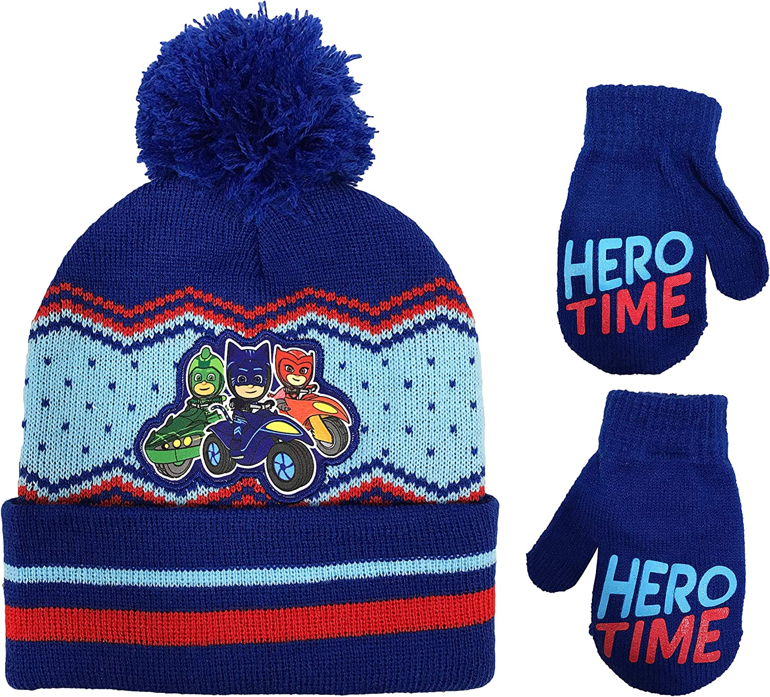 PJ Masks Toddler Boys Beanie Winter Hat and Mittens Cold Weather Set, Age 2-4