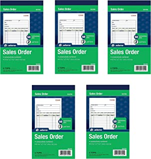 Adams Sales Order Book, 2-Part, Carbonless, White/Canary, 4-3/16 x 7-3/16 inches, 50 Sets per Book, 5 Books, 250 Sets Total (DC4705)