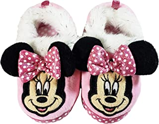Disney Minnie Mouse Toddler Slippers (Light Pink, White Polka Dot, Black Ears, White and Silver Fur Cuff)