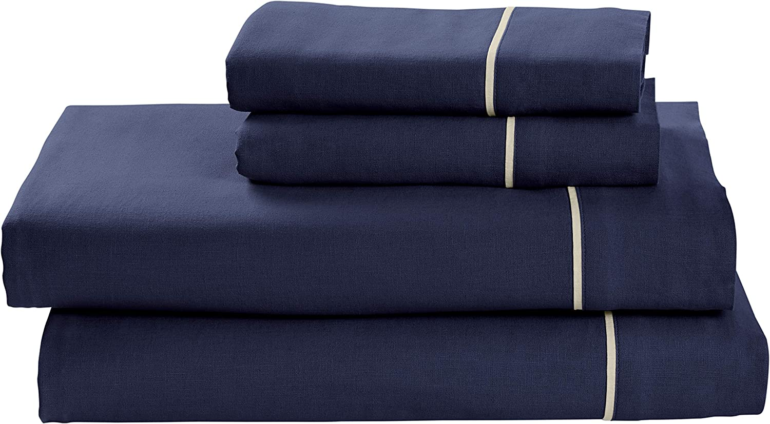 Rivet Contrast Hem Breathable Cotton Linen Sheet Set, Queen, Navy Mushroom