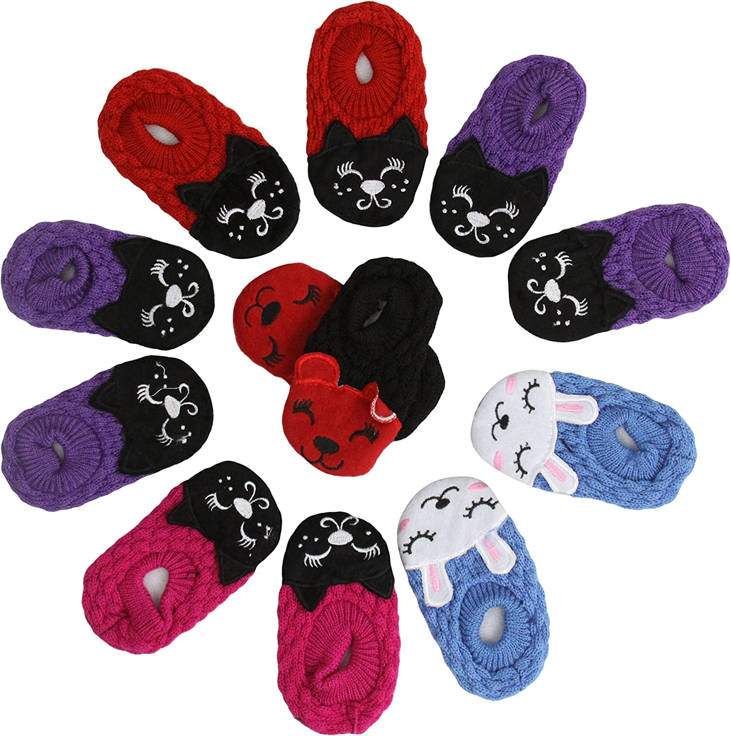 ToBeInStyle Baby Girls' Pack of 6 Cat Head Slipper Shoes