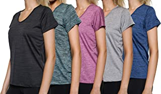 5-Pack Women's Short Sleeve V-Neck Activewear T-Shirt Dry-Fit Moisture Wicking Perfomance Yoga Top