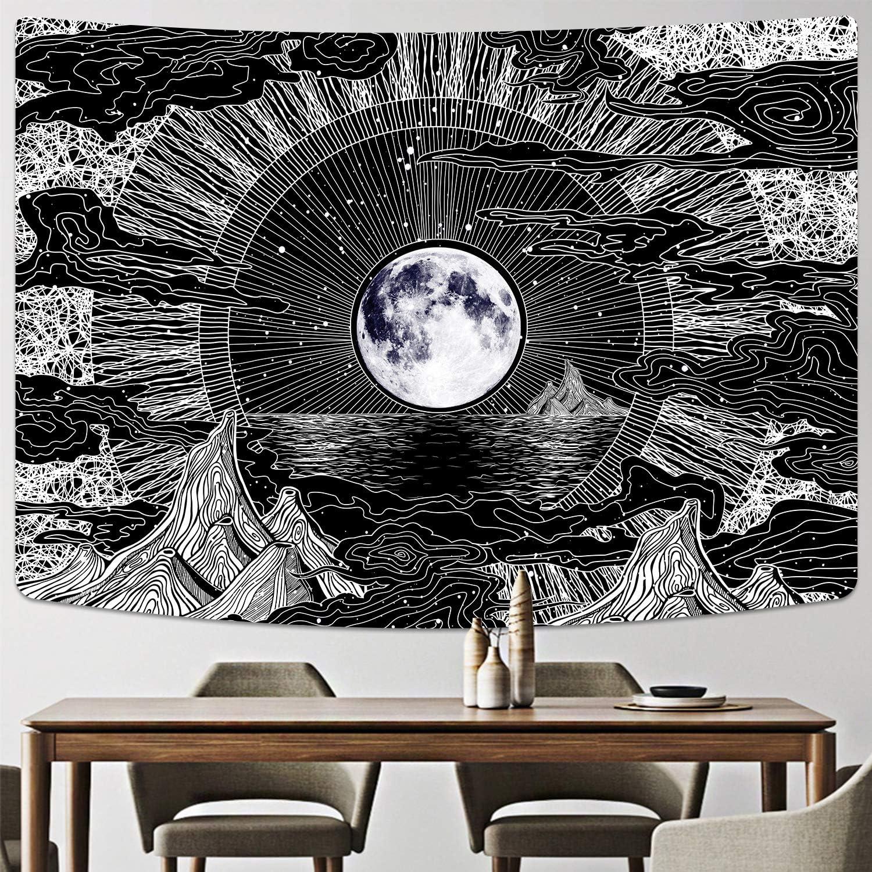 Nuage noir et blanc Alishomtll Tapisserie murale motif lune et /étoile Pour chambre 150 x 210 cm Psych/éd/élique