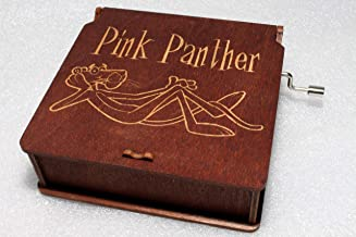 Pink Panther Music Box - #1 - Engraved Wooden Box -